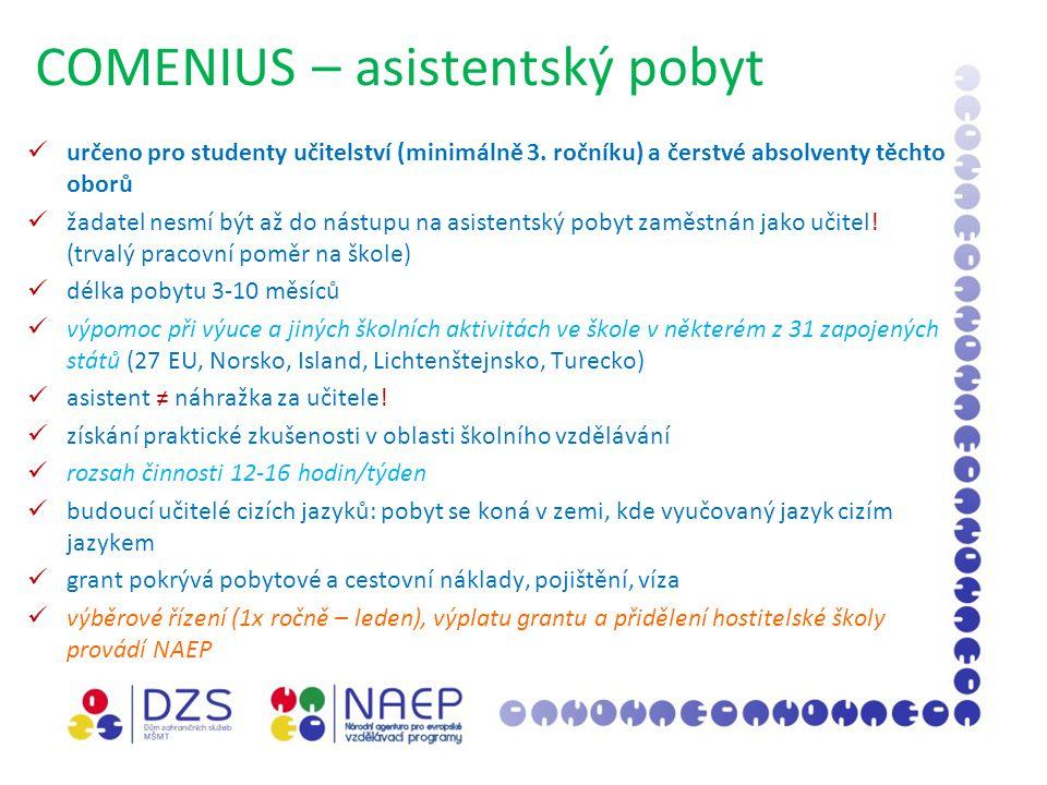 COMENIUS – asistentský pobyt určeno pro studenty učitelství (minimálně 3.