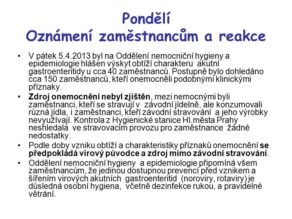 Pondělí Oznámení zaměstnancům a reakce V pátek 5.4.2013 byl na Oddělení nemocniční hygieny a epidemiologie hlášen výskyt obtíží charakteru akutní gast
