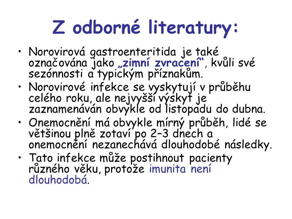 """Z odborné literatury: Norovirová gastroenteritida je také označována jako """"zimní zvracení"""", kvůli své sezónnosti a typickým příznakům. Norovirové infe"""