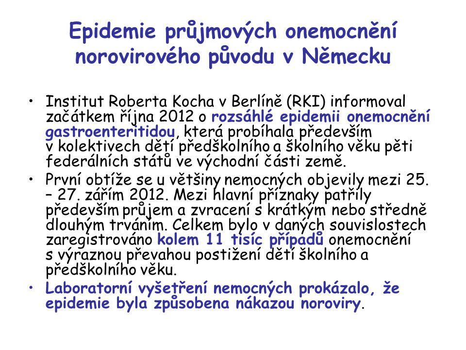 Epidemie průjmových onemocnění norovirového původu v Německu Institut Roberta Kocha v Berlíně (RKI) informoval začátkem října 2012 o rozsáhlé epidemii