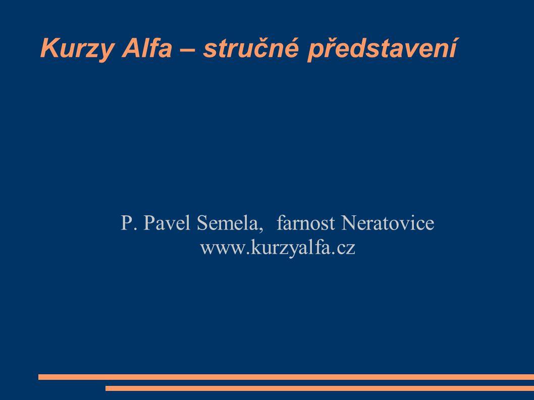 Kurzy Alfa – stručné představení P. Pavel Semela, farnost Neratovice www.kurzyalfa.cz