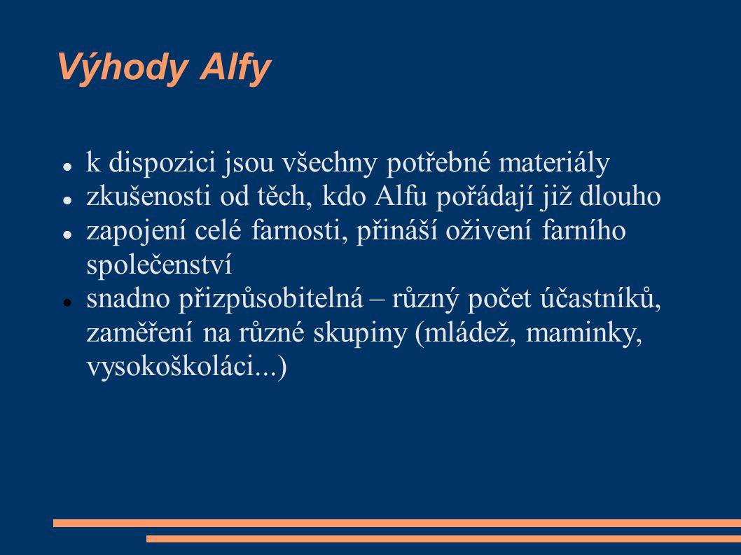 Výhody Alfy k dispozici jsou všechny potřebné materiály zkušenosti od těch, kdo Alfu pořádají již dlouho zapojení celé farnosti, přináší oživení farní