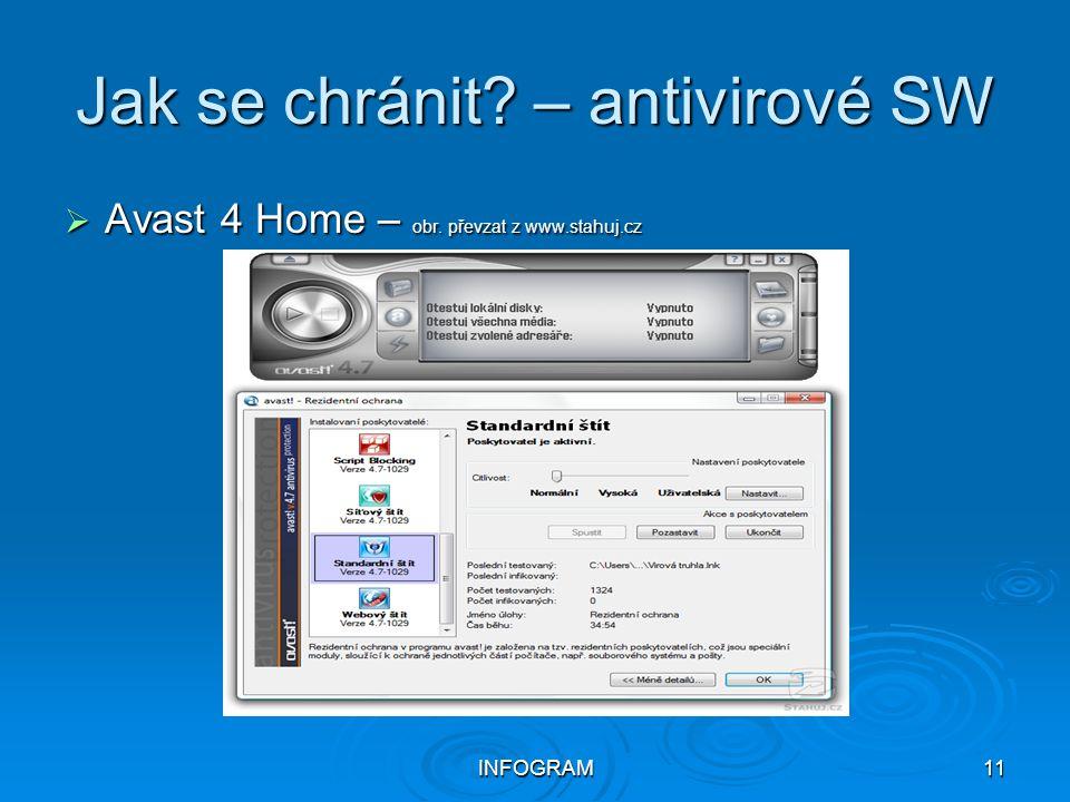 INFOGRAM11 Jak se chránit? – antivirové SW  Avast 4 Home – obr. převzat z www.stahuj.cz