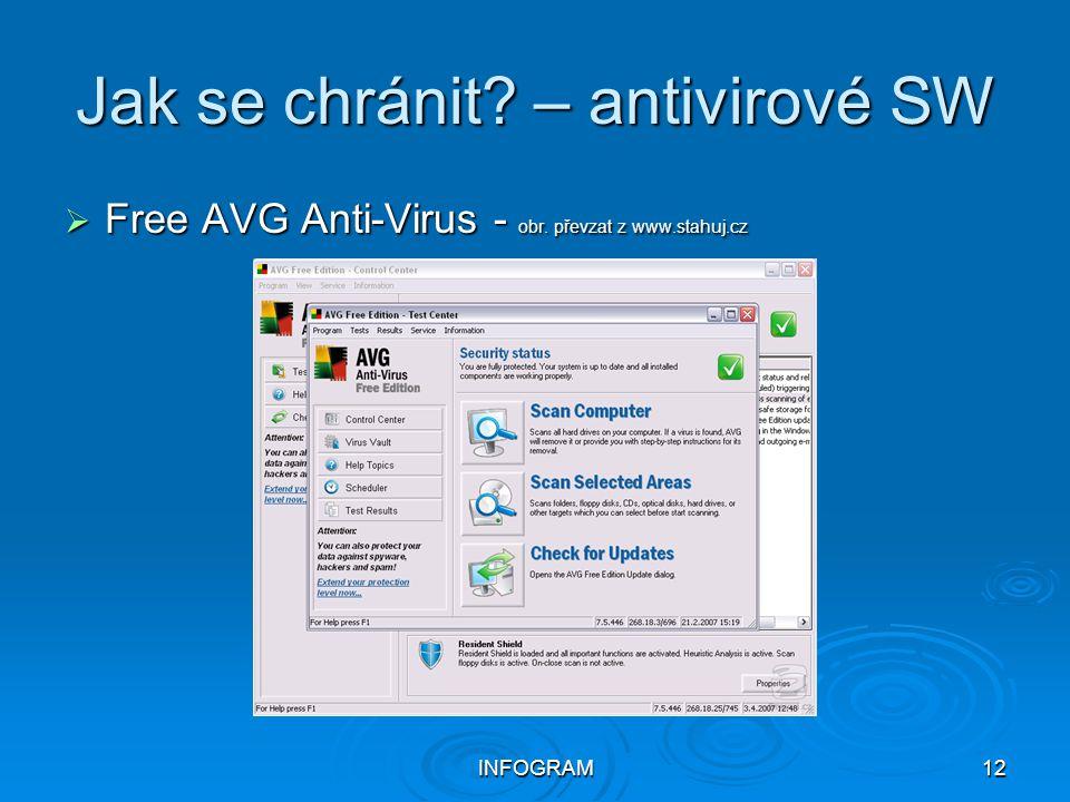 INFOGRAM12 Jak se chránit? – antivirové SW  Free AVG Anti-Virus - obr. převzat z www.stahuj.cz