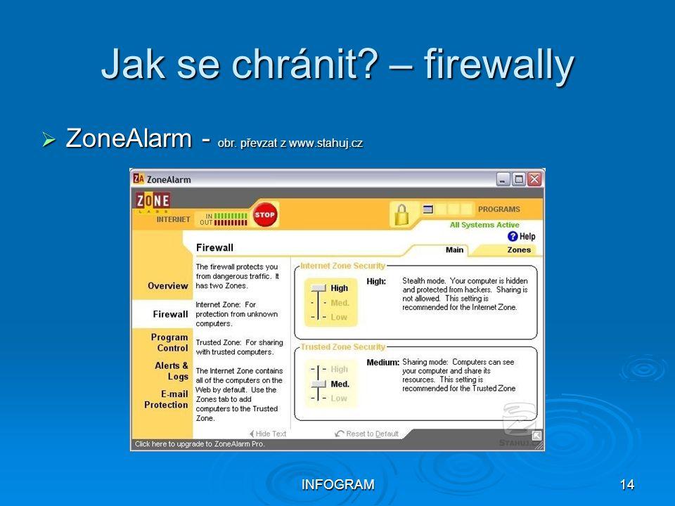 INFOGRAM14 Jak se chránit? – firewally  ZoneAlarm - obr. převzat z www.stahuj.cz