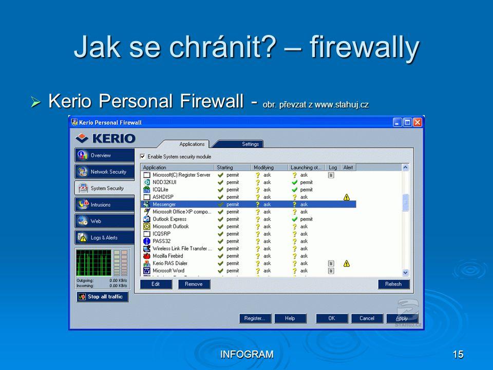 INFOGRAM15 Jak se chránit? – firewally  Kerio Personal Firewall - obr. převzat z www.stahuj.cz
