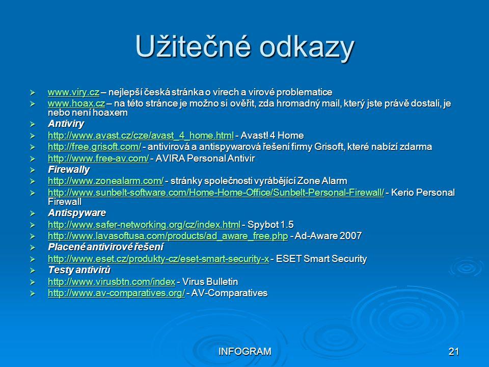 INFOGRAM21 Užitečné odkazy  www.viry.cz – nejlepší česká stránka o virech a virové problematice www.viry.cz  www.hoax.cz – na této stránce je možno