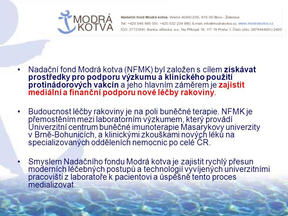 Nadační fond Modrá kotva (NFMK) byl založen s cílem získávat prostředky pro podporu výzkumu a klinického použití protinádorových vakcín a jeho hlavním