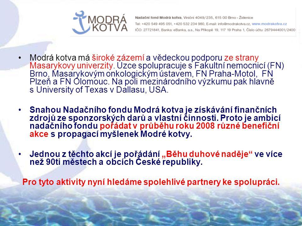 Modrá kotva má široké zázemí a vědeckou podporu ze strany Masarykovy univerzity. Úzce spolupracuje s Fakultní nemocnicí (FN) Brno, Masarykovým onkolog