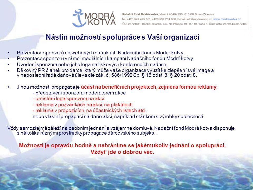 Nástin možností spolupráce s Vaší organizací Prezentace sponzorů na webových stránkách Nadačního fondu Modré kotvy.