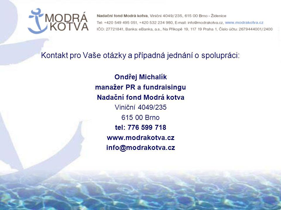 Kontakt pro Vaše otázky a případná jednání o spolupráci: Ondřej Michalík manažer PR a fundraisingu Nadační fond Modrá kotva Viniční 4049/235 615 00 Brno tel: 776 599 718 www.modrakotva.cz info@modrakotva.cz