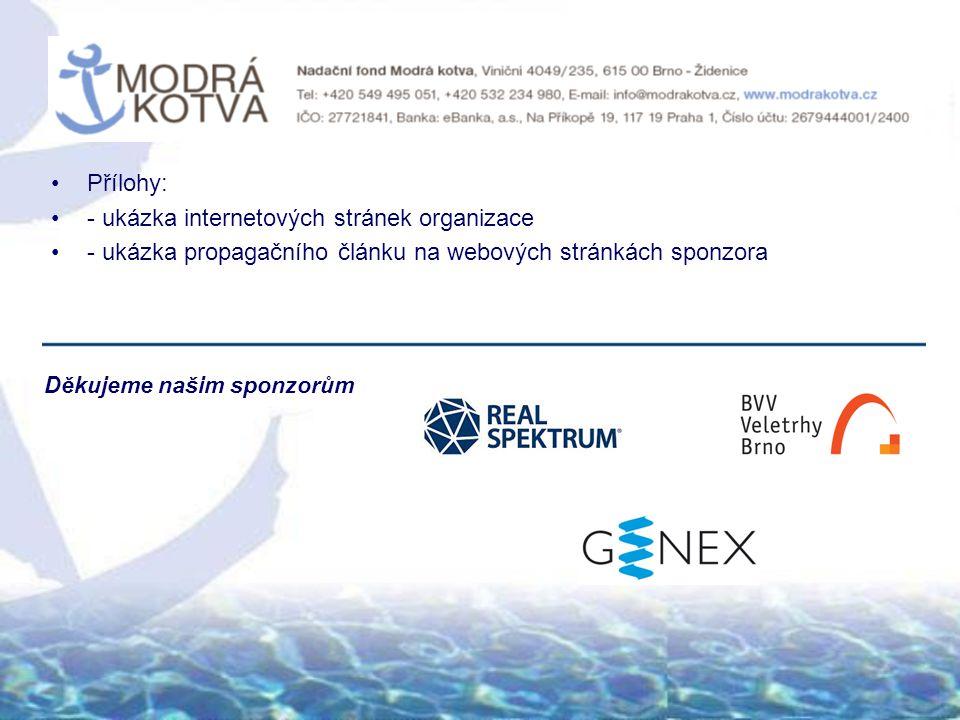 Přílohy: - ukázka internetových stránek organizace - ukázka propagačního článku na webových stránkách sponzora Děkujeme našim sponzorům