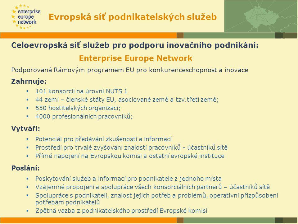 Evropská síť podnikatelských služeb Celoevropská síť služeb pro podporu inovačního podnikání: Enterprise Europe Network Podporovaná Rámovým programem EU pro konkurenceschopnost a inovace Zahrnuje:  101 konsorcií na úrovni NUTS 1  44 zemí – členské státy EU, asociované země a tzv.třetí země;  550 hostitelských organizací;  4000 profesionálních pracovníků; Vytváří:  Potenciál pro předávání zkušeností a informací  Prostředí pro trvalé zvyšování znalostí pracovníků - účastníků sítě  Přímé napojení na Evropskou komisi a ostatní evropské instituce Poslání:  Poskytování služeb a informací pro podnikatele z jednoho místa  Vzájemné propojení a spolupráce všech konsorciálních partnerů – účastníků sítě  Spolupráce s podnikateli, znalost jejich potřeb a problémů, operativní přizpůsobení potřebám podnikatelů  Zpětná vazba z podnikatelského prostředí Evropské komisi