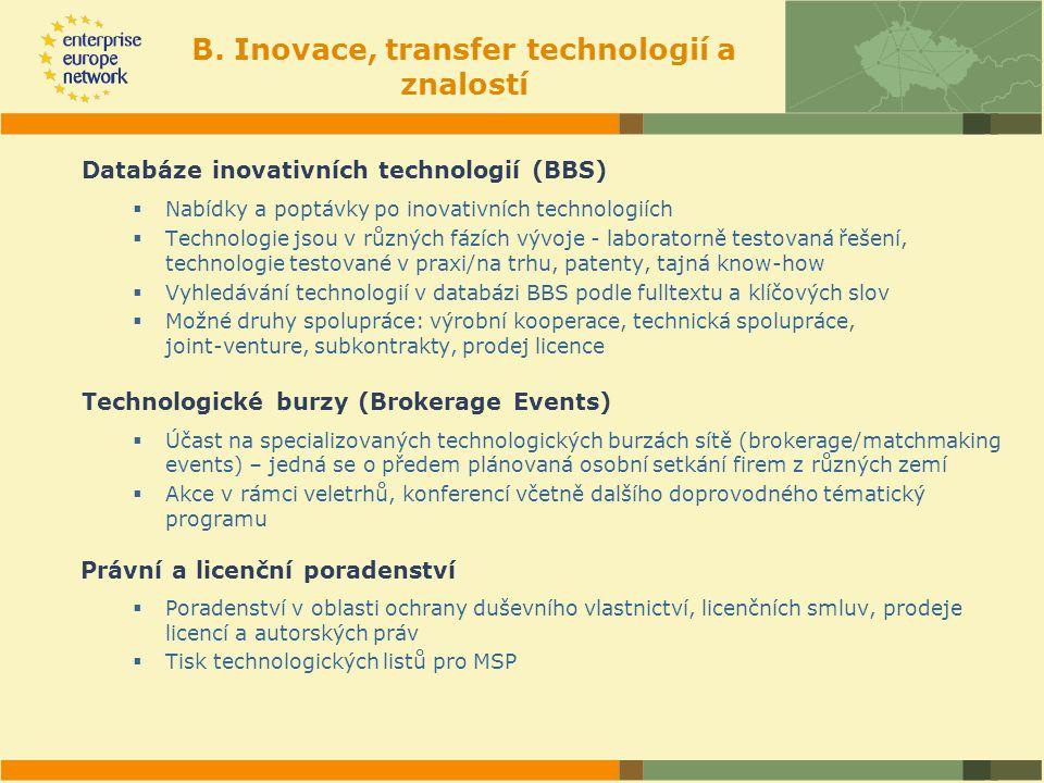 B. Inovace, transfer technologií a znalostí Databáze inovativních technologií (BBS)  Nabídky a poptávky po inovativních technologiích  Technologie j