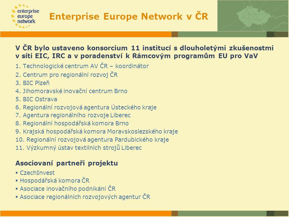 Enterprise Europe Network v ČR V ČR bylo ustaveno konsorcium 11 institucí s dlouholetými zkušenostmi v síti EIC, IRC a v poradenství k Rámcovým programům EU pro VaV 1.