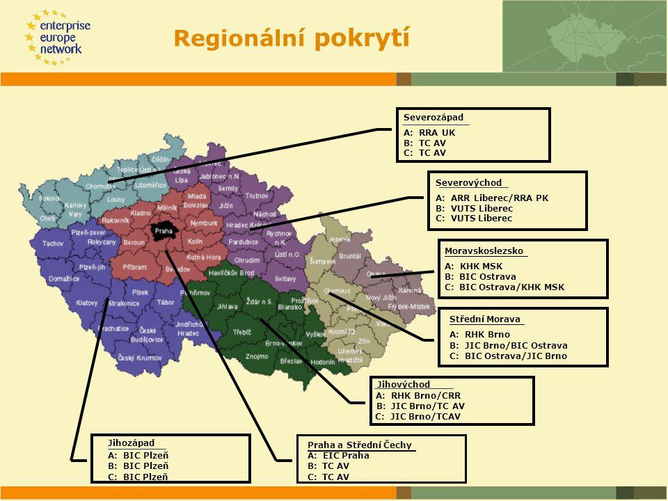 Moravskoslezsko A: KHK MSK B: BIC Ostrava C: BIC Ostrava/KHK MSK Jihovýchod B: JIC Brno/TC AV A: RHK Brno/CRR C: JIC Brno/TCAV Střední Morava B: JIC Brno/BIC Ostrava A: RHK Brno C: BIC Ostrava/JIC Brno Praha a Střední Čechy B: TC AV A: EIC Praha C: TC AV Jihozápad B: BIC Plzeň A: BIC Plzeň C: BIC Plzeň Severovýchod A: ARR Liberec/RRA PK B: VUTS Liberec C: VUTS Liberec Severozápad A: RRA UK B: TC AV C: TC AV Regionální pokrytí