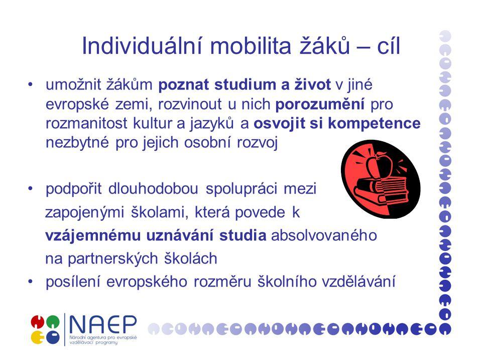 Individuální mobilita žáků – cíl umožnit žákům poznat studium a život v jiné evropské zemi, rozvinout u nich porozumění pro rozmanitost kultur a jazyk