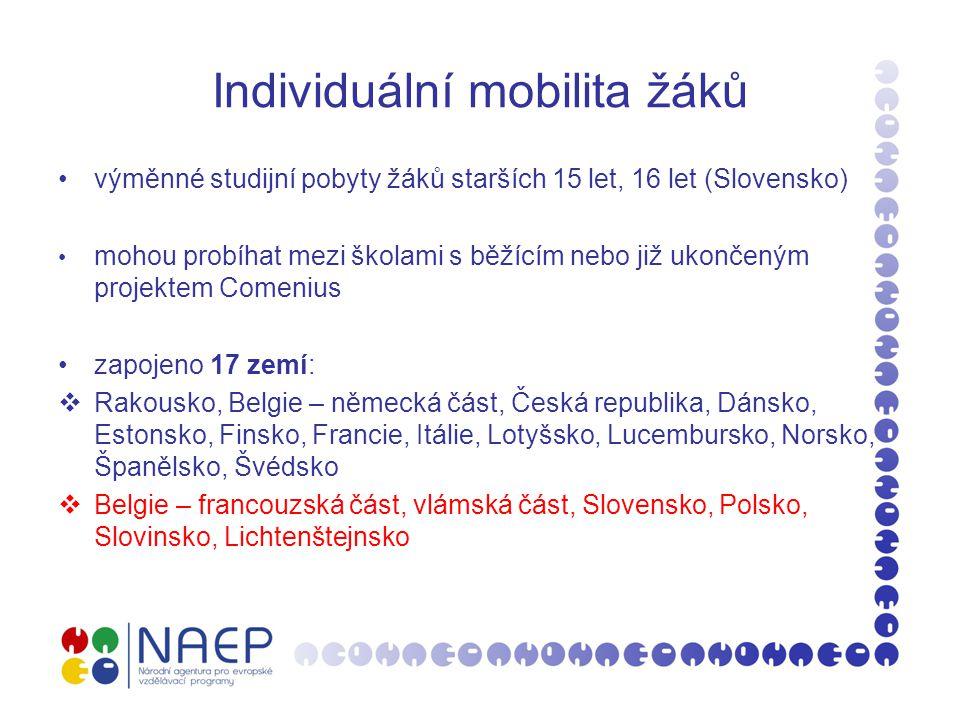 Individuální mobilita žáků trvání mobility: 3 až 10 měsíců první výjezdy žáků se uskuteční ve školním roce 2010/2011 žádost o zapojení do mobility podává vysílající škola své národní agentuře termín podání: jednou ročně (začátek prosince)