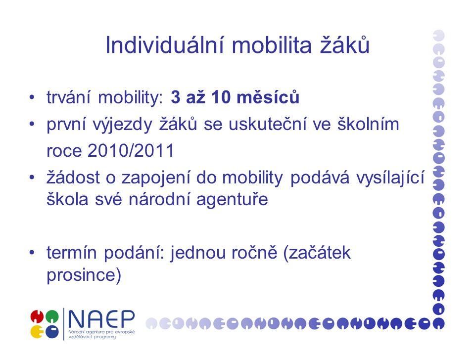 Individuální mobilita žáků trvání mobility: 3 až 10 měsíců první výjezdy žáků se uskuteční ve školním roce 2010/2011 žádost o zapojení do mobility pod