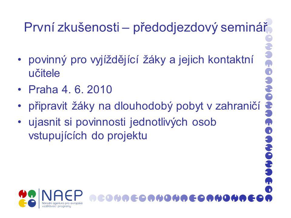 První zkušenosti – předodjezdový seminář povinný pro vyjíždějící žáky a jejich kontaktní učitele Praha 4. 6. 2010 připravit žáky na dlouhodobý pobyt v