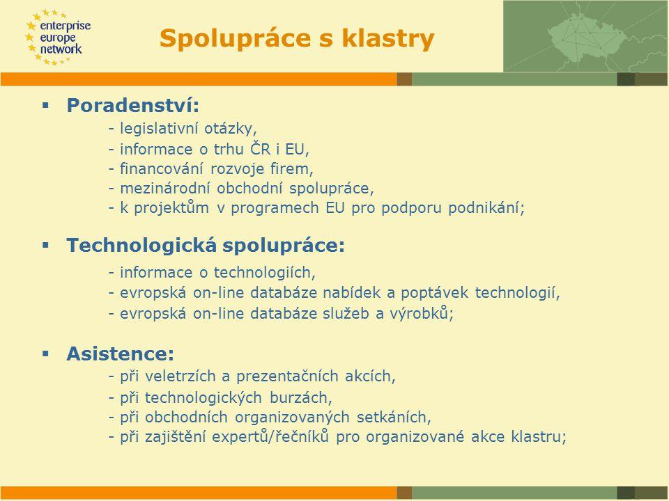 Spolupráce s klastry  Poradenství: - legislativní otázky, - informace o trhu ČR i EU, - financování rozvoje firem, - mezinárodní obchodní spolupráce, - k projektům v programech EU pro podporu podnikání;  Technologická spolupráce: - informace o technologiích, - evropská on-line databáze nabídek a poptávek technologií, - evropská on-line databáze služeb a výrobků;  Asistence: - při veletrzích a prezentačních akcích, - při technologických burzách, - při obchodních organizovaných setkáních, - při zajištění expertů/řečníků pro organizované akce klastru;