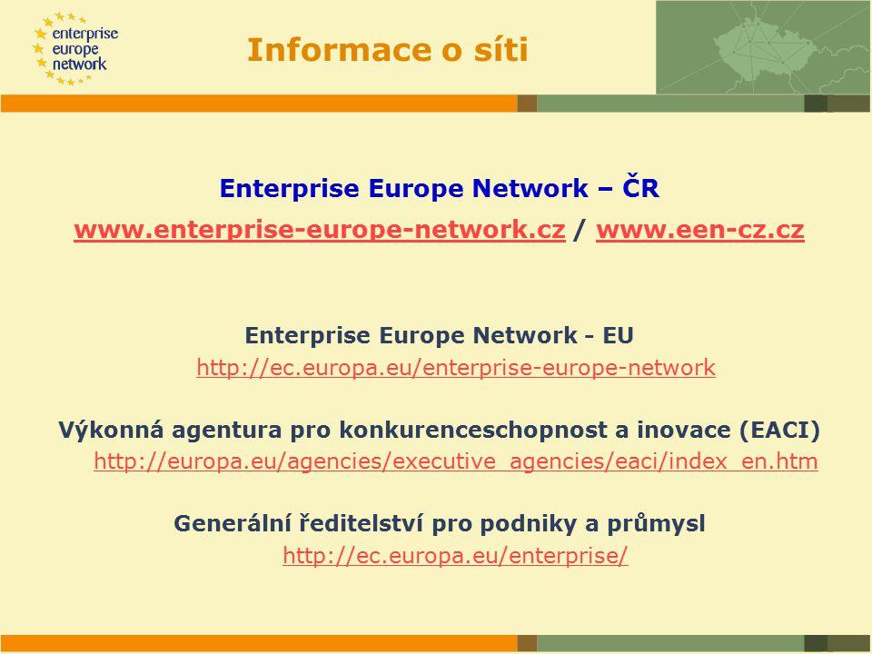 Informace o síti Enterprise Europe Network – ČR www.enterprise-europe-network.czwww.enterprise-europe-network.cz / www.een-cz.czwww.een-cz.cz Enterprise Europe Network - EU http://ec.europa.eu/enterprise-europe-network Výkonná agentura pro konkurenceschopnost a inovace (EACI) http://europa.eu/agencies/executive_agencies/eaci/index_en.htm Generální ředitelství pro podniky a průmysl http://ec.europa.eu/enterprise/