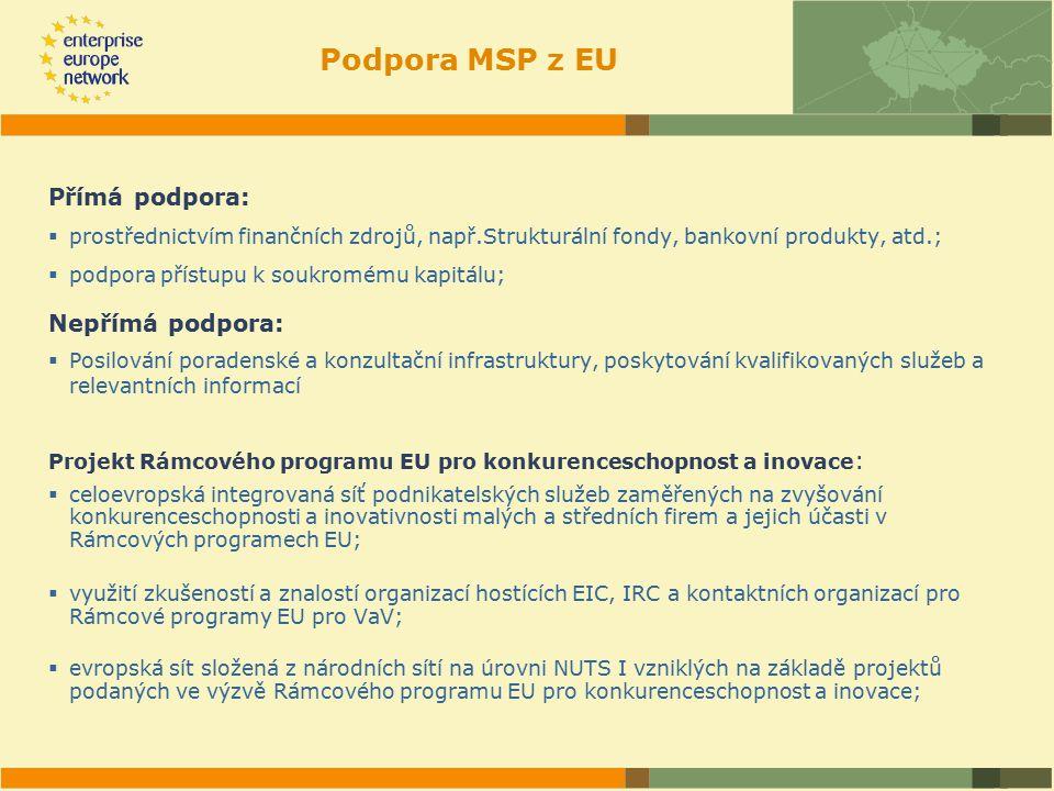 Podpora MSP z EU Přímá podpora:  prostřednictvím finančních zdrojů, např.Strukturální fondy, bankovní produkty, atd.;  podpora přístupu k soukromému kapitálu; Nepřímá podpora:  Posilování poradenské a konzultační infrastruktury, poskytování kvalifikovaných služeb a relevantních informací Projekt Rámcového programu EU pro konkurenceschopnost a inovace :  celoevropská integrovaná síť podnikatelských služeb zaměřených na zvyšování konkurenceschopnosti a inovativnosti malých a středních firem a jejich účasti v Rámcových programech EU;  využití zkušeností a znalostí organizací hostících EIC, IRC a kontaktních organizací pro Rámcové programy EU pro VaV;  evropská sít složená z národních sítí na úrovni NUTS I vzniklých na základě projektů podaných ve výzvě Rámcového programu EU pro konkurenceschopnost a inovace;