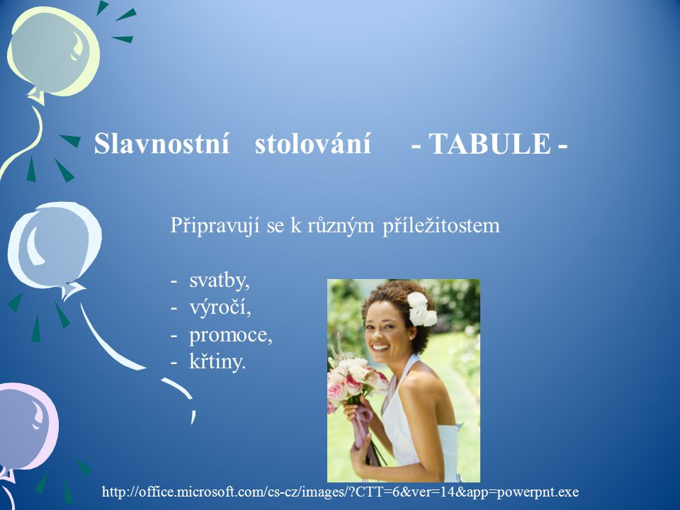 Slavnostnístolování - TABULE - Připravují se k různým příležitostem - svatby, - výročí, - promoce, - křtiny. http://office.microsoft.com/cs-cz/images/