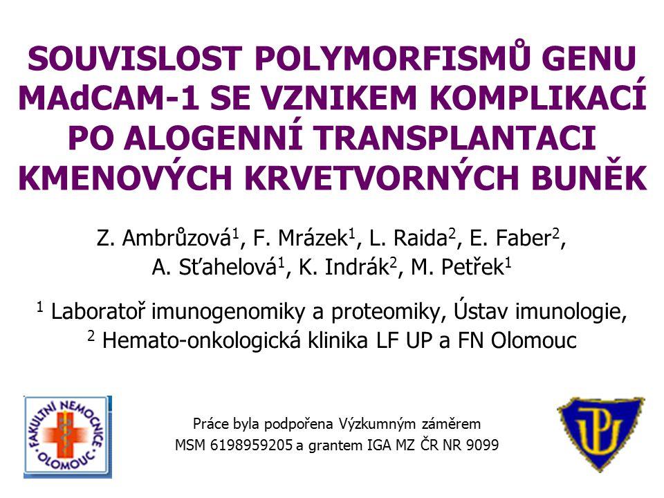ÚVOD  polymorfismy non-HLA genů jsou v poslední době intenzivně studovány pro jejich možnou souvislost s rozvojem komplikací po alogenní transplantaci kmenových krvetvorných buněk  migrace aktivovaných T lymfocytů dárce do terčových slizničních tkání a parenchymatózních orgánů příjemce je klíčová pro rozvoj reakce štěpu proti hostiteli (GVHD)  migrace lymfocytů dárce je zprostředkována mezibuněčnou interakcí prostřednictvím adhezivních molekul