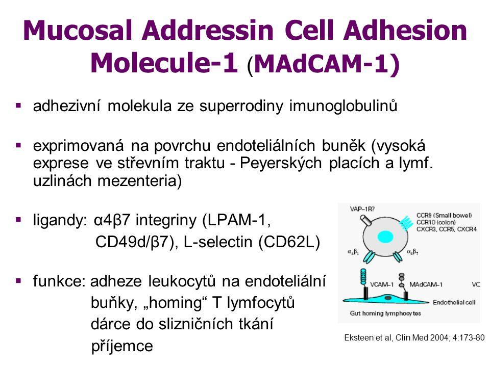 Mucosal Addressin Cell Adhesion Molecule-1 ( MAdCAM-1)  adhezivní molekula ze superrodiny imunoglobulinů  exprimovaná na povrchu endoteliálních buně