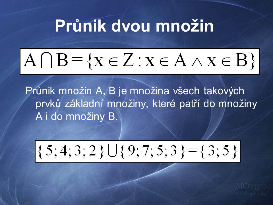 Průnik dvou množin Průnik množin A, B je množina všech takových prvků základní množiny, které patří do množiny A i do množiny B.