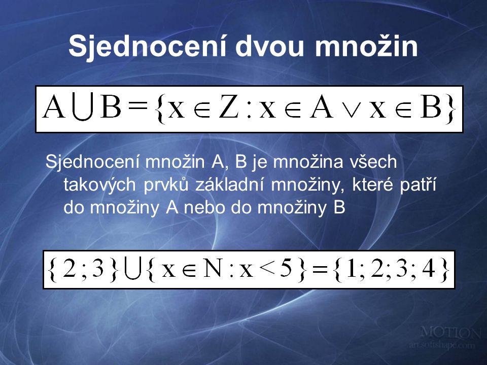 Sjednocení dvou množin Sjednocení množin A, B je množina všech takových prvků základní množiny, které patří do množiny A nebo do množiny B