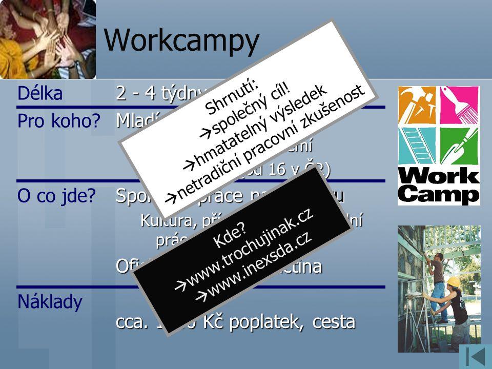 Workcampy 2 - 4 týdny Mladí (nejenom) z několika různých zemí 18 a více let (od 16 v ČR) Společná práce na projektu Kultura, příroda, sport, sociální práce Oficiální jazyk: angličtina cca.