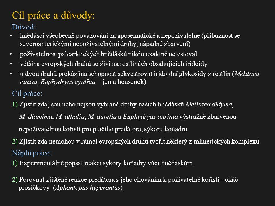 hnědásci všeobecně považováni za aposematické a nepoživatelné (příbuznost se severoamerickými nepoživatelnými druhy, nápadné zbarvení) poživatelnost palearktických hnědásků nikdo exaktně netestoval většina evropských druhů se živí na rostlinách obsahujících iridoidy u dvou druhů prokázána schopnost sekvestrovat iridoidní glykosidy z rostlin (Melitaea cinxia, Euphydryas cynthia - jen u housenek) Cíl práce a důvody: Důvod: 1) Experimentálně popsat reakci sýkory koňadry vůči hnědáskům 2) Porovnat zjištěné reakce predátora s jeho chováním k poživatelné kořisti - okáč prosíčkový (Aphantopus hyperantus) Cíl práce: 1) Zjistit zda jsou nebo nejsou vybrané druhy našich hnědásků Melitaea didyma, M.