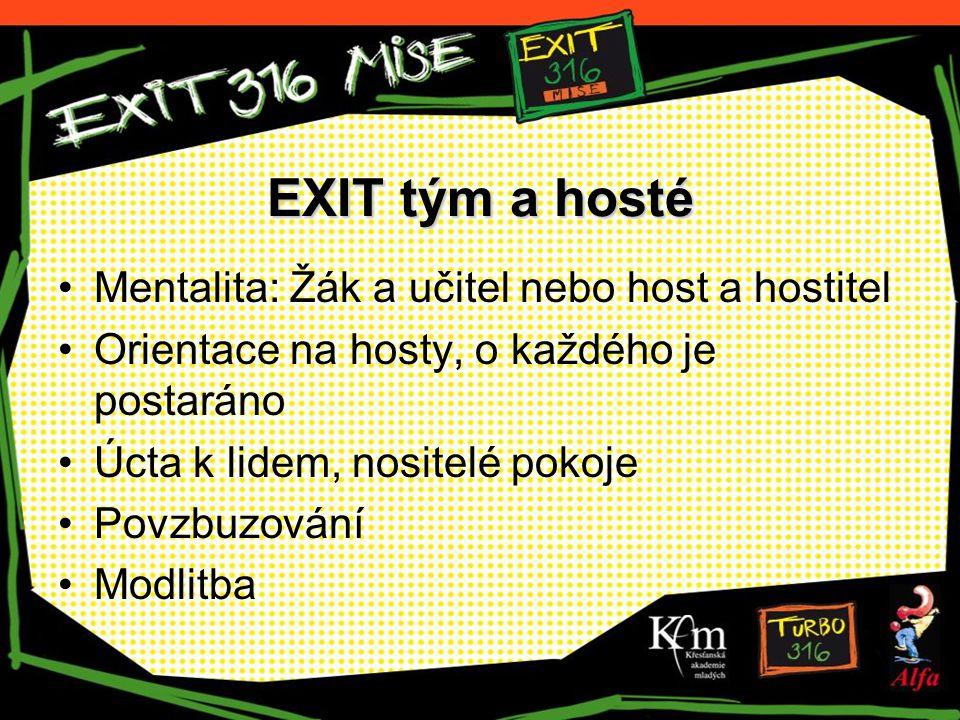 EXIT tým a hosté Mentalita: Žák a učitel nebo host a hostitel Orientace na hosty, o každého je postaráno Úcta k lidem, nositelé pokoje Povzbuzování Mo