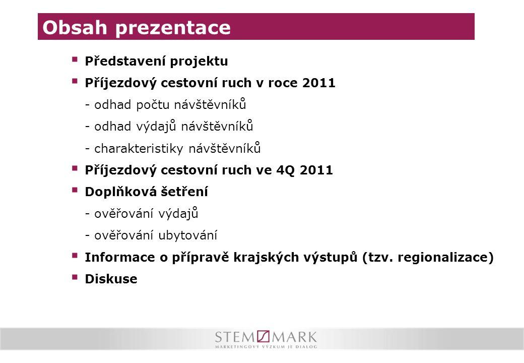  Představení projektu  Příjezdový cestovní ruch v roce 2011 - odhad počtu návštěvníků - odhad výdajů návštěvníků - charakteristiky návštěvníků  Pří