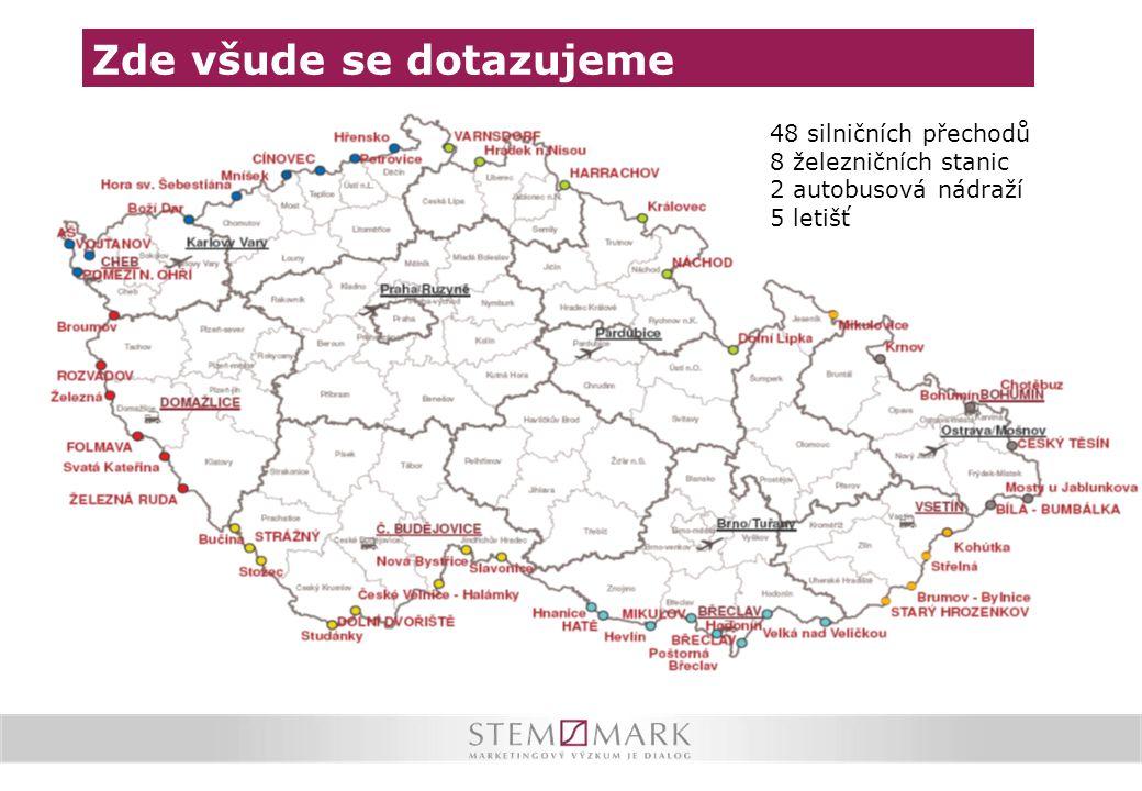 Zde všude se dotazujeme 48 silničních přechodů 8 železničních stanic 2 autobusová nádraží 5 letišť