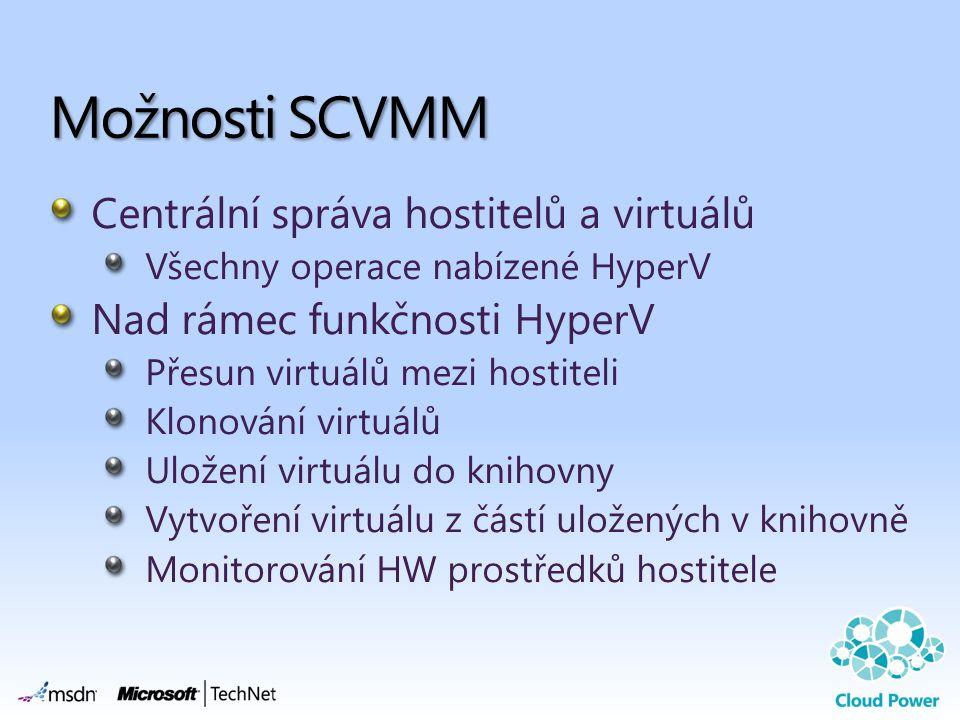Centrální správa hostitelů a virtuálů Všechny operace nabízené HyperV Nad rámec funkčnosti HyperV Přesun virtuálů mezi hostiteli Klonování virtuálů Uložení virtuálu do knihovny Vytvoření virtuálu z částí uložených v knihovně Monitorování HW prostředků hostitele Možnosti SCVMM