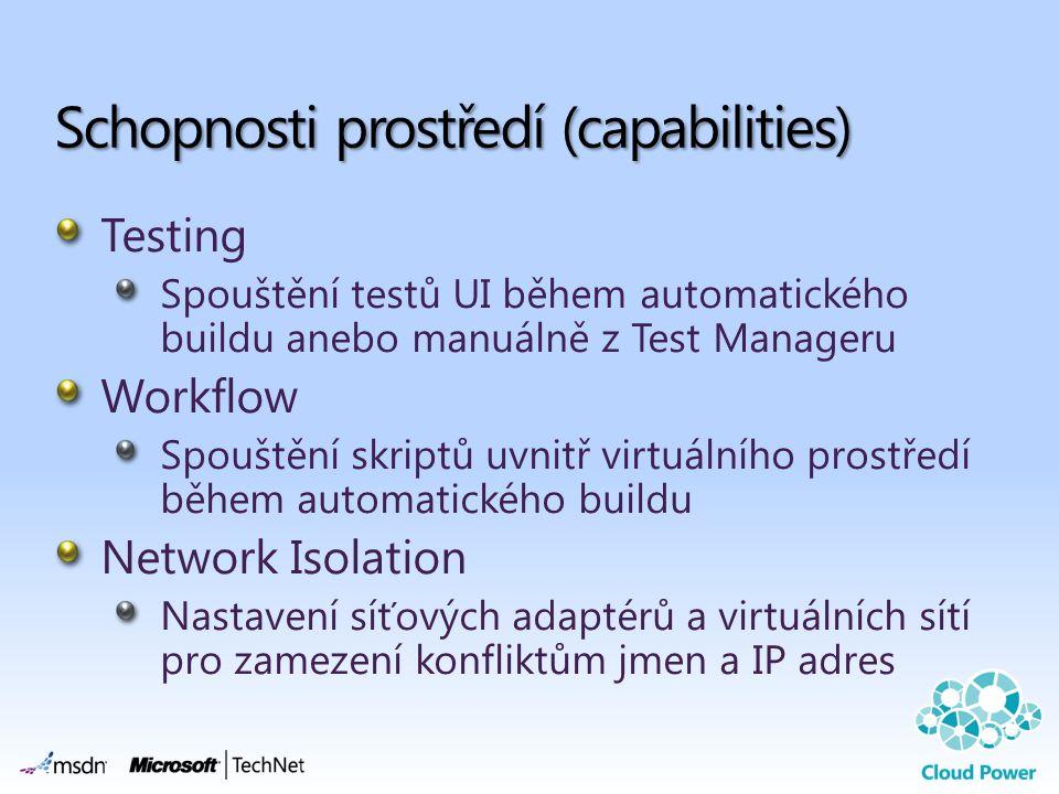 Testing Spouštění testů UI během automatického buildu anebo manuálně z Test Manageru Workflow Spouštění skriptů uvnitř virtuálního prostředí během automatického buildu Network Isolation Nastavení síťových adaptérů a virtuálních sítí pro zamezení konfliktům jmen a IP adres Schopnosti prostředí (capabilities)