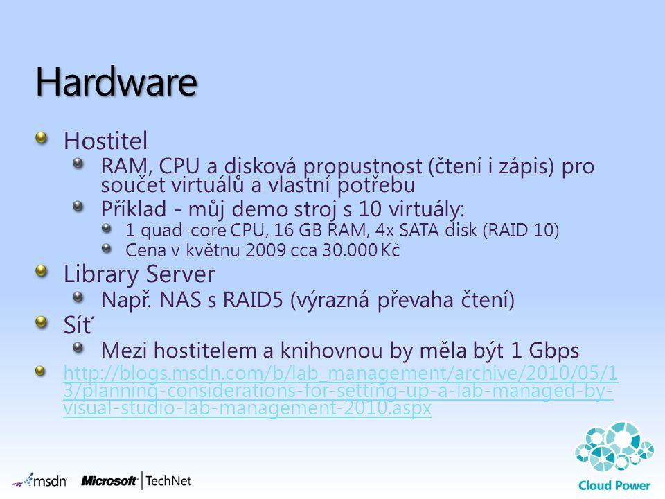 Hostitel RAM, CPU a disková propustnost (čtení i zápis) pro součet virtuálů a vlastní potřebu Příklad - můj demo stroj s 10 virtuály: 1 quad-core CPU, 16 GB RAM, 4x SATA disk (RAID 10) Cena v květnu 2009 cca 30.000 Kč Library Server Např.