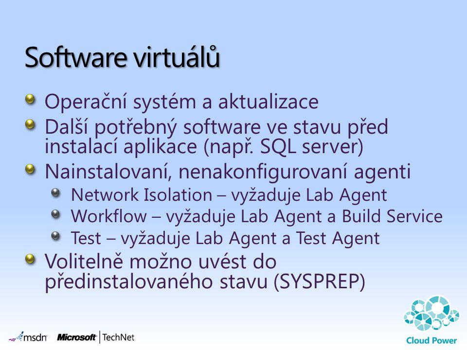 Operační systém a aktualizace Další potřebný software ve stavu před instalací aplikace (např. SQL server) Nainstalovaní, nenakonfigurovaní agenti Netw
