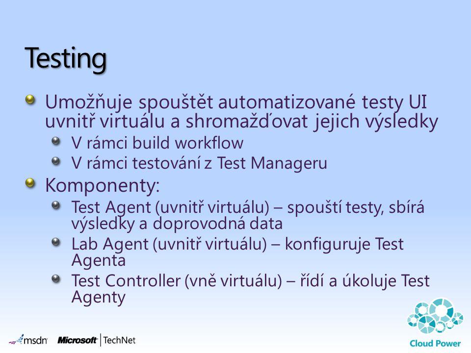 Umožňuje spouštět automatizované testy UI uvnitř virtuálu a shromažďovat jejich výsledky V rámci build workflow V rámci testování z Test Manageru Komponenty: Test Agent (uvnitř virtuálu) – spouští testy, sbírá výsledky a doprovodná data Lab Agent (uvnitř virtuálu) – konfiguruje Test Agenta Test Controller (vně virtuálu) – řídí a úkoluje Test Agenty Testing
