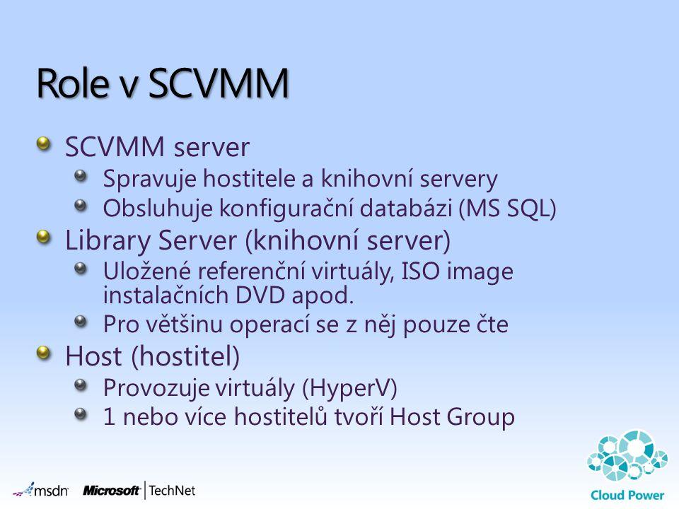 SCVMM server Spravuje hostitele a knihovní servery Obsluhuje konfigurační databázi (MS SQL) Library Server (knihovní server) Uložené referenční virtuály, ISO image instalačních DVD apod.