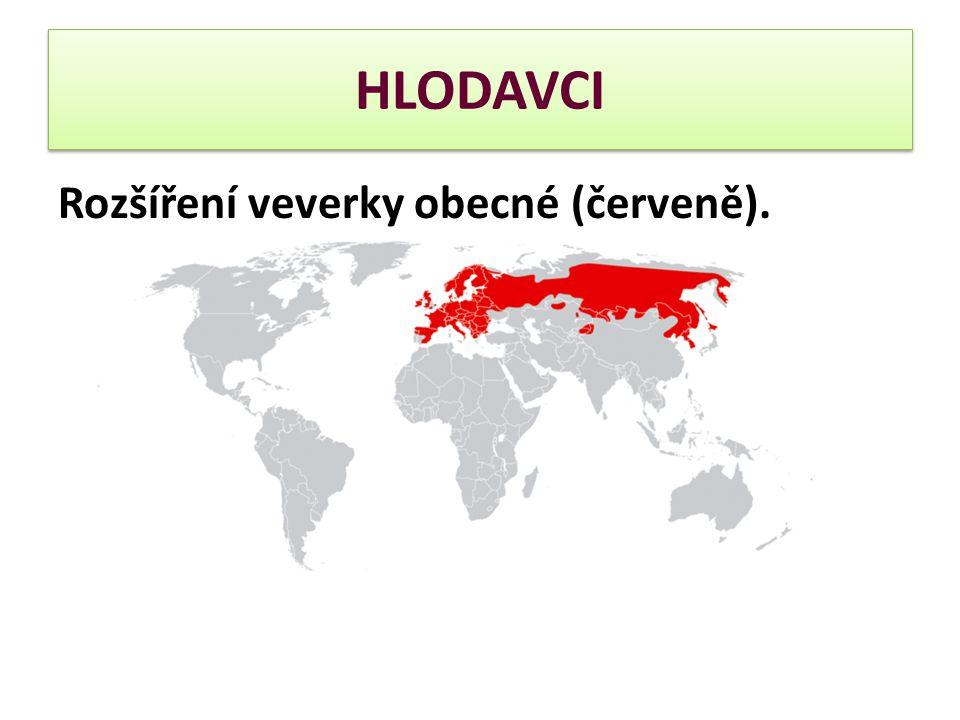 Rozšíření veverky obecné (červeně).