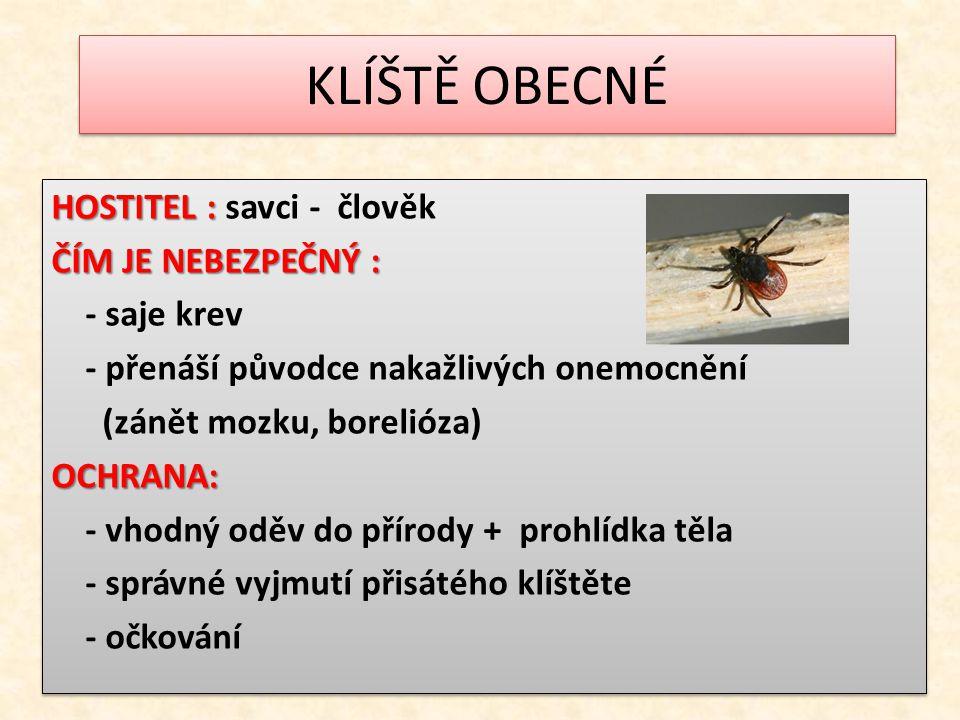 KLÍŠTĚ OBECNÉ HOSTITEL : HOSTITEL : savci - člověk ČÍM JE NEBEZPEČNÝ : - saje krev - přenáší původce nakažlivých onemocnění (zánět mozku, borelióza)OC