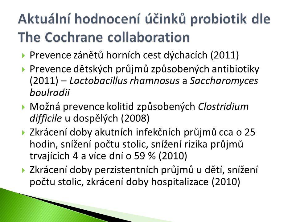  Prevence zánětů horních cest dýchacích (2011)  Prevence dětských průjmů způsobených antibiotiky (2011) – Lactobacillus rhamnosus a Saccharomyces bo