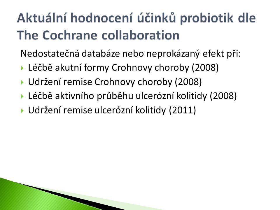Nedostatečná databáze nebo neprokázaný efekt při:  Léčbě akutní formy Crohnovy choroby (2008)  Udržení remise Crohnovy choroby (2008)  Léčbě aktivn