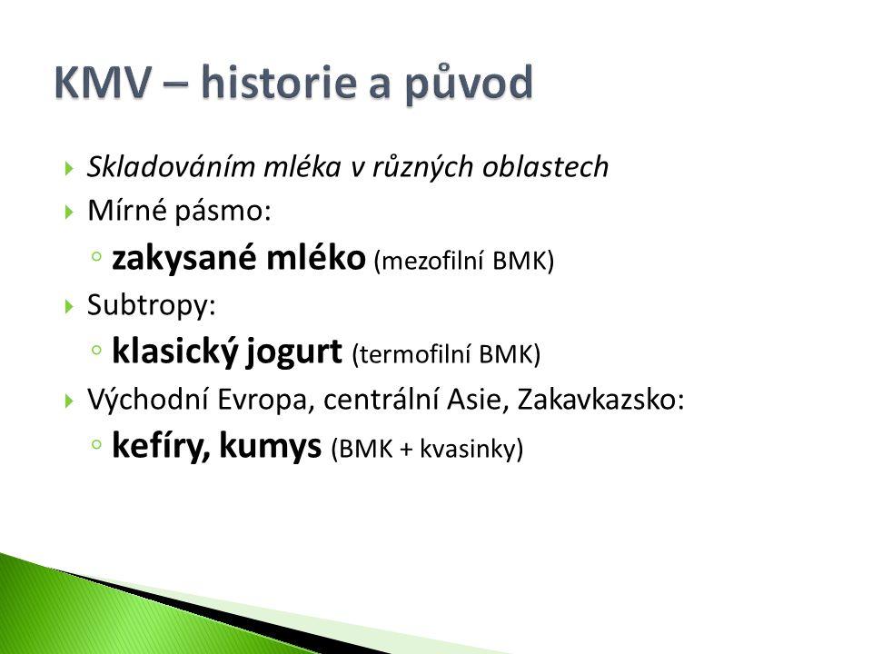  Skladováním mléka v různých oblastech  Mírné pásmo: ◦ zakysané mléko (mezofilní BMK)  Subtropy: ◦ klasický jogurt (termofilní BMK)  Východní Evro