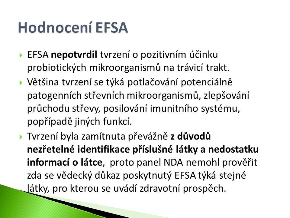  EFSA nepotvrdil tvrzení o pozitivním účinku probiotických mikroorganismů na trávicí trakt.  Většina tvrzení se týká potlačování potenciálně patogen