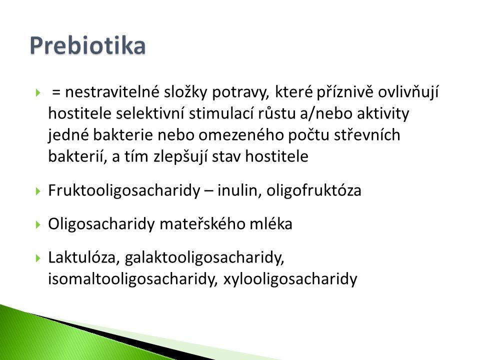  = nestravitelné složky potravy, které příznivě ovlivňují hostitele selektivní stimulací růstu a/nebo aktivity jedné bakterie nebo omezeného počtu st